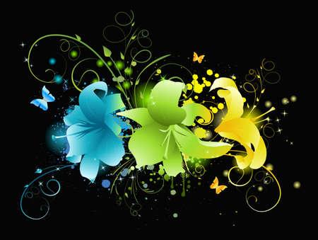 twirled: Fiori multicolori su sfondo nero con elementi floreali, incandescenti