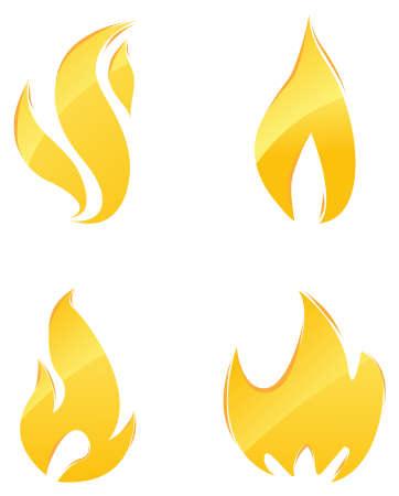 brandweer cartoon: Glanzende pictogrammen van oranje vlammen en vuur instellen