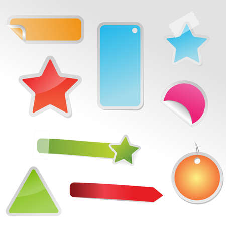 Set of different multicolored tags with adhesive tape Vector