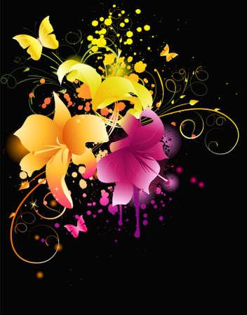 twirled: Fiori di giglio incandescente con elementi florals e grunge background