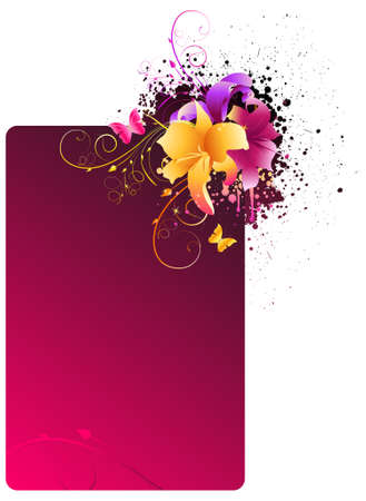 Pink grunge frame with multicolored lily flowers Vector