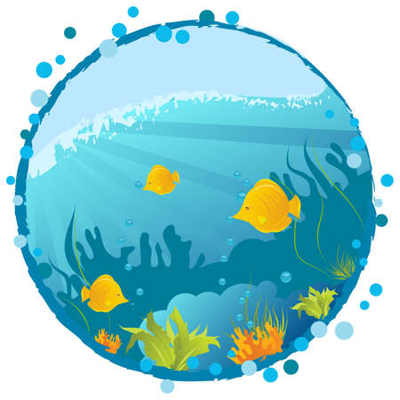 bottom line: Round grunge underwater background with fishes, algae and corals Illustration