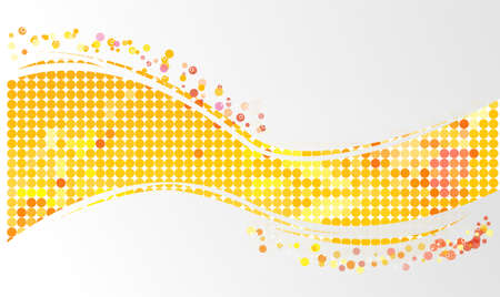 color mixing: Wave mosaic background from yellow round shapes Illustration