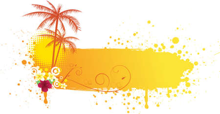 tropical sunset: Grunge orange banner with palms and florals Illustration
