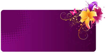 Dark violet banner with multicolored lily flowers and grunge elements Vector