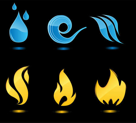 palla di fuoco: Acqua e fuoco icone lucide con riflessione Vettoriali