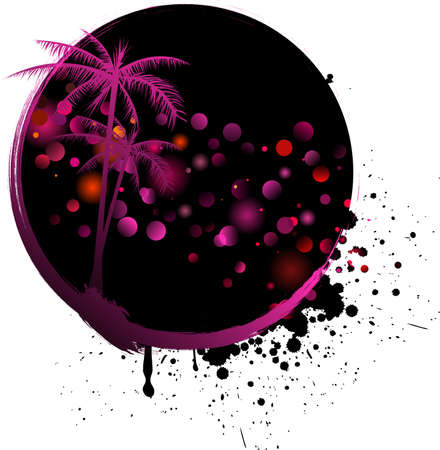 Round grunge background with light rounds and palm trees Vector