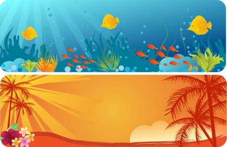 coral reef: Two banners - with underwater background and palms trees on orange background Illustration