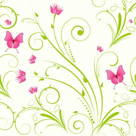 flowery: Adorno floral transparente con flores y mariposas