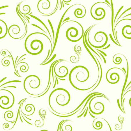 vines: Swirls seamless ornament in green color