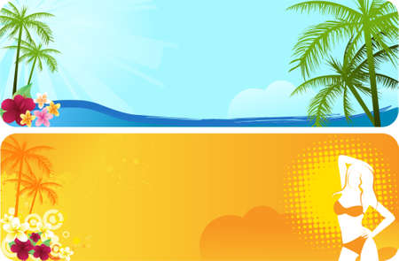 Summer banners with flowers and palm trees in blue and orange colors Vector