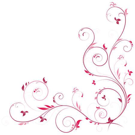 esquineros de flores: Esquina floral en color rosa con elementos decorativos remolinos Vectores
