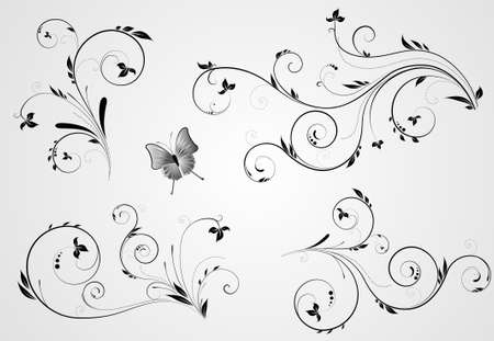 Set of floral black design with swirl elements on gray background Vector