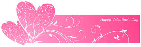 Pink valentines banner with two hearts and floral ornament