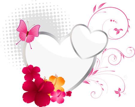 beautiful red hibiscus flower: De fondo de San Valent�n con corazones, flores y elementos florales