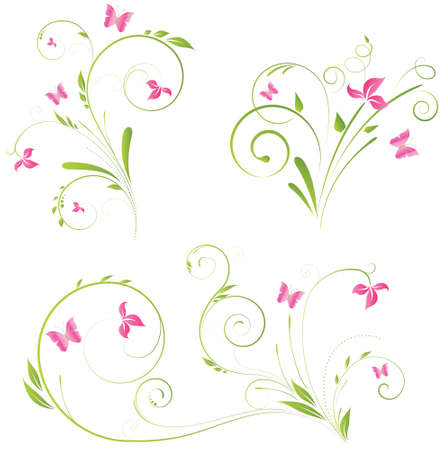 green swirl: Floral designs with pink flowers and butterflies