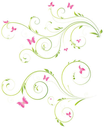 ornamente: Floral designs with pink flowers and butterflies