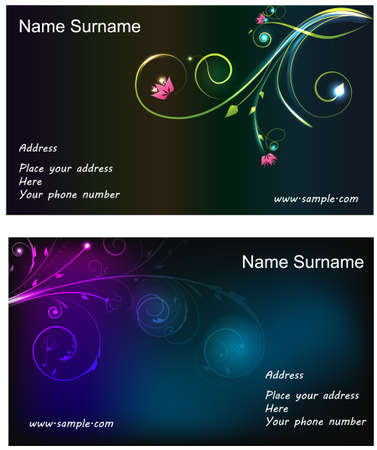 cards: Two Floral glowing business cards with template text