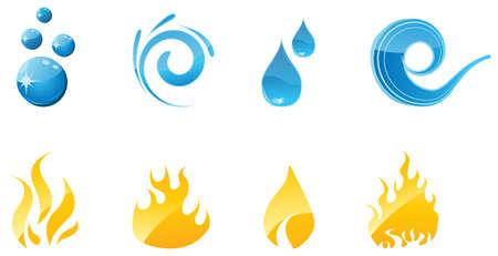 reflectie water: Water en vuur glanzende pictogrammen voor uw ontwerpen
