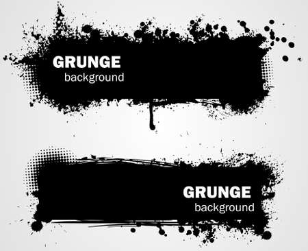 spatter: Grunge banner backgrounds in black color Illustration