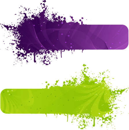 Two grunge banner in purple and green colors with wave design and stars