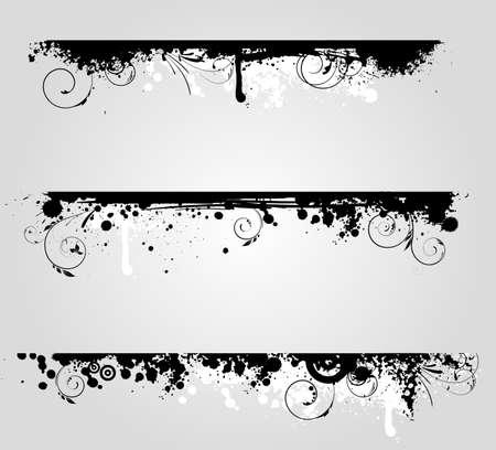 Drie verschillende grunge banners met bloemen krul elementen