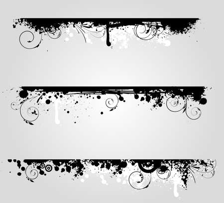 banner effect: Three different grunge banners with floral swirl elements Illustration