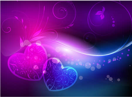 Shiny vector background with hearts and florals Vector