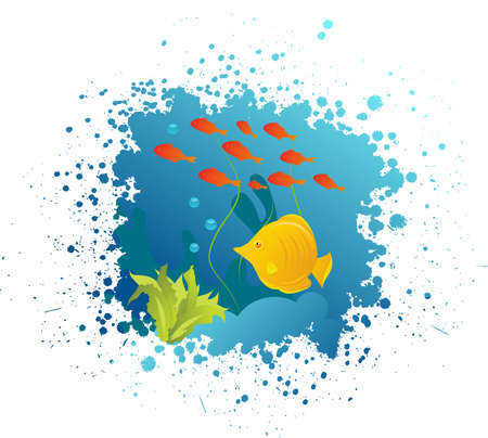 Grunge underwater background with fishes, algae and corals Stock Vector - 13424283