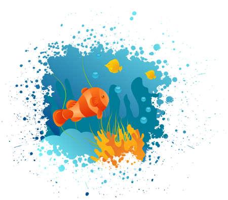 pez payaso: Grunge fondo submarino con peces payaso, las algas y los corales Vectores