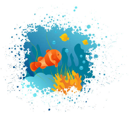 Grunge underwater background with clownfish, algae and corals Vector