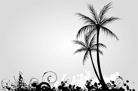 Palm trees on grunge background in black color Vector