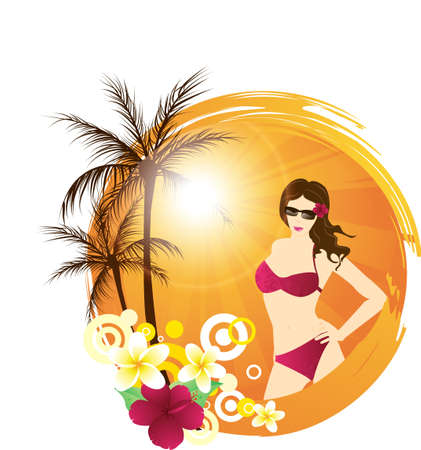 Round tropical background with palm trees, tropical flowers and attractive young woman Vector