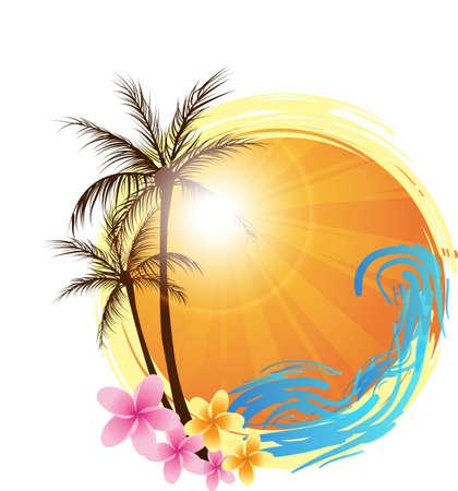 熱帯: ヤシの木と海の波、水のスプラッシュとラウンド バナー