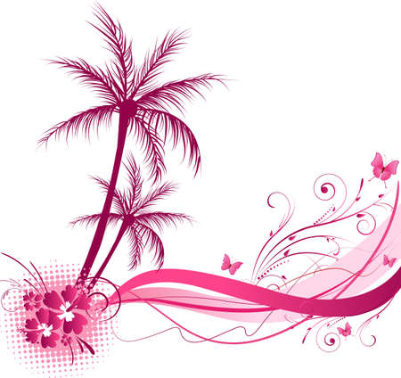 Palm tree with wave floral design in pink color Vector