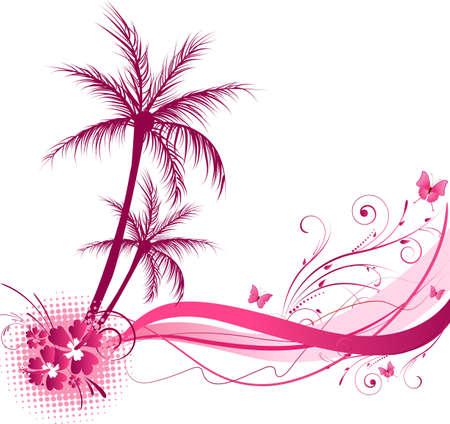 papillon rose: Palmier avec un design floral vague de couleur rose Illustration