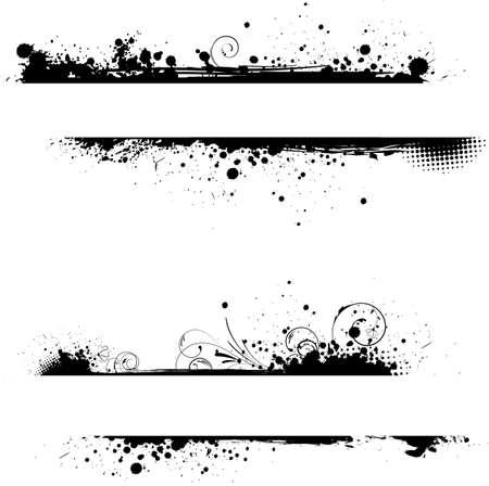 Grunge twee banners frame in zwarte kleur met florale krul elementen Stock Illustratie