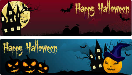 Two halloween banners in different colors Stock Vector - 15660115