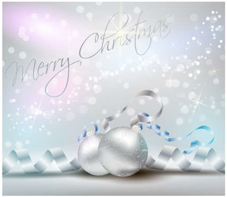 Christmas card with ribbons and shiny christmas decorations in silver and blue colors