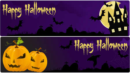 Two halloween banners in dark purple colors Vector