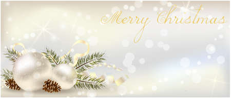 grey backgrounds: Christmas banner with decoration of conifer cone, ribbons and christmas tree branch