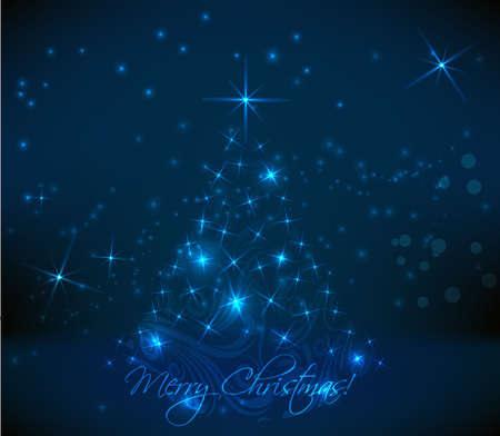 religious celebration: Abstract swirly christmas tree on dark blue background