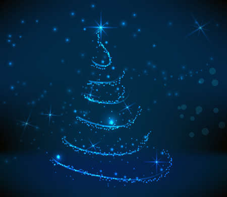 religious celebration: Abstract swirly christmas tree on dark blue background