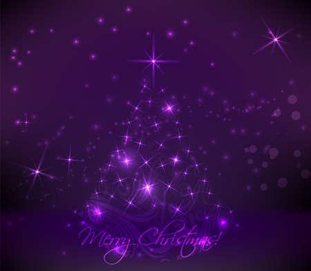 religious icon: Abstract swirly �rbol de navidad en el fondo p�rpura oscuro