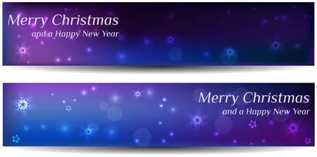 religious christmas: Two christmas banners in blue and purple colors