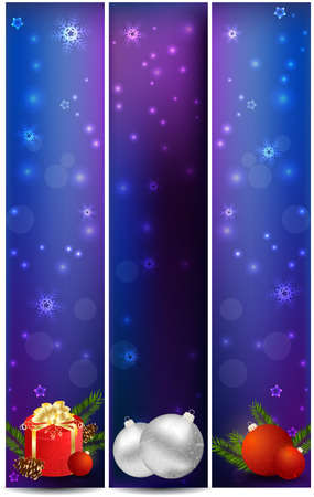 Three vertical Christmas banner with decoration Stock Vector - 16646505