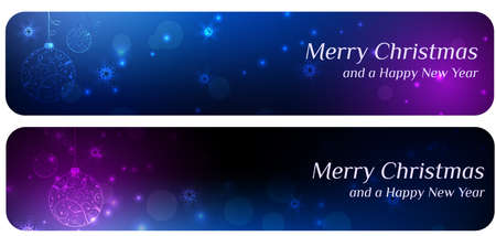 Two christmas banners in blue and purple colors with christmas abstract balls Vector
