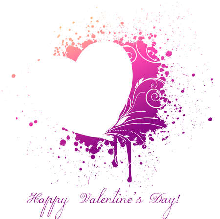 purple heart: Beautiful grunge heart with floral elements. Valentines day concept.