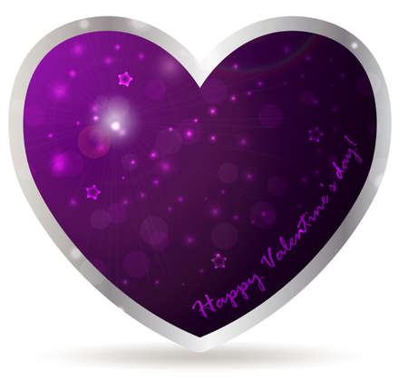 Heart frame with abstract violet background. Valentine's day concept. Vector