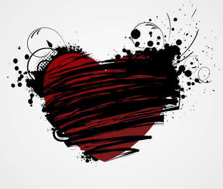Grunge heart with floral elements in black and red colors Vector